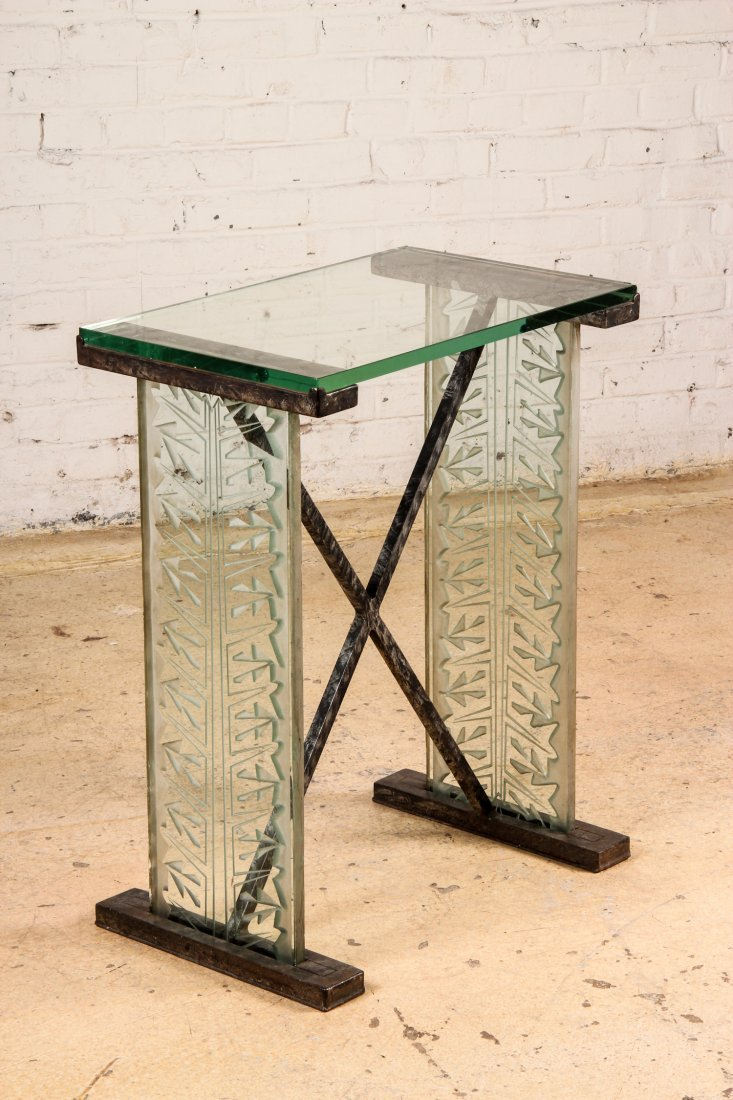 French Art Deco Carved Glass Console Table