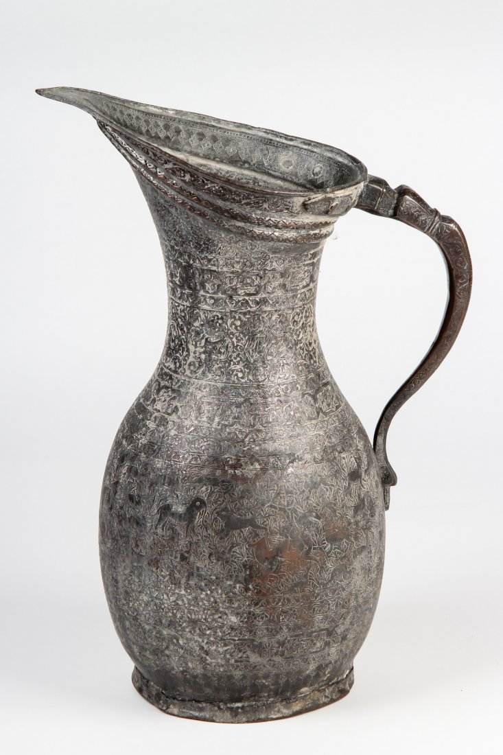 Antique Safavid Style Tinned Copper Ewer