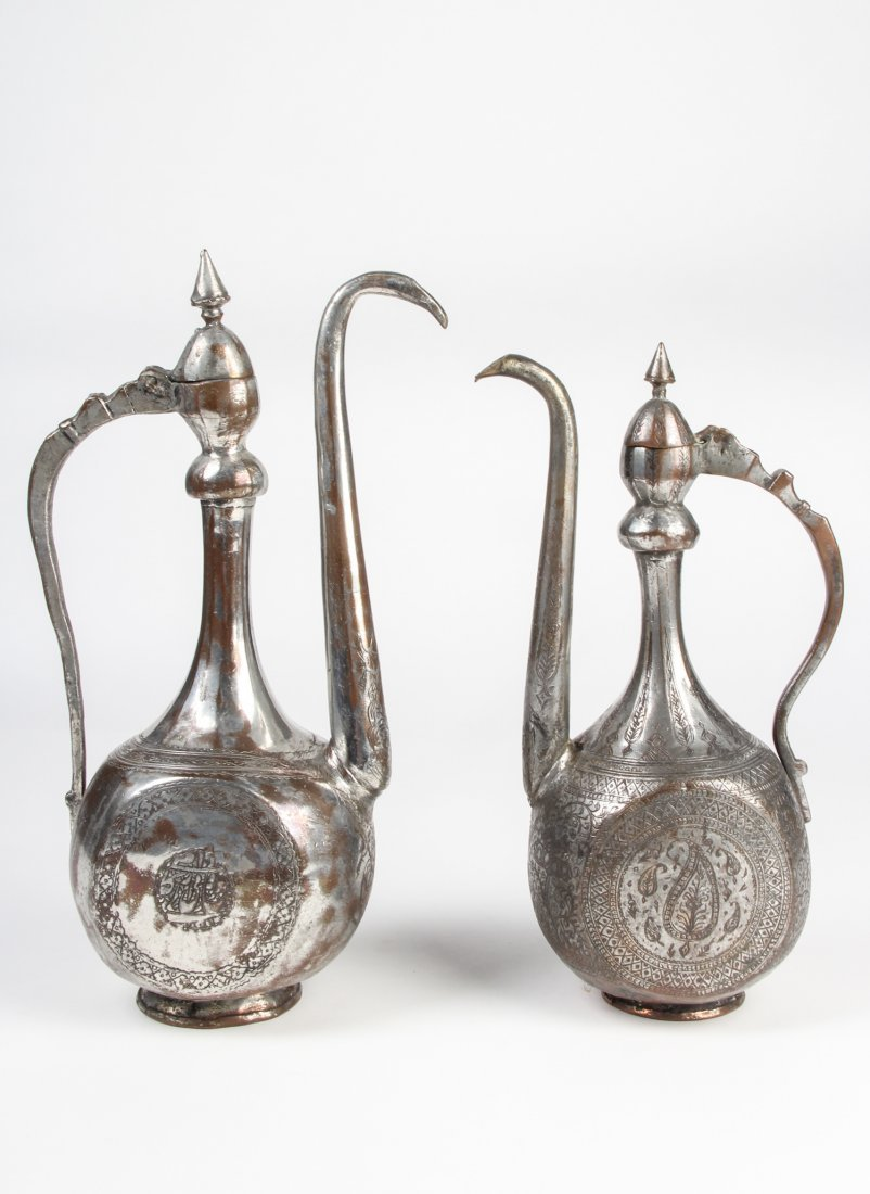 Two Antique Safavid Style Tinned Copper Spouted Pots