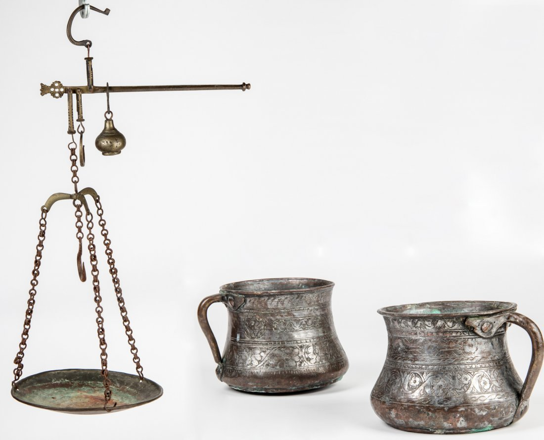 Antique Safavid Style Copper Lot with Beam Scale and 2