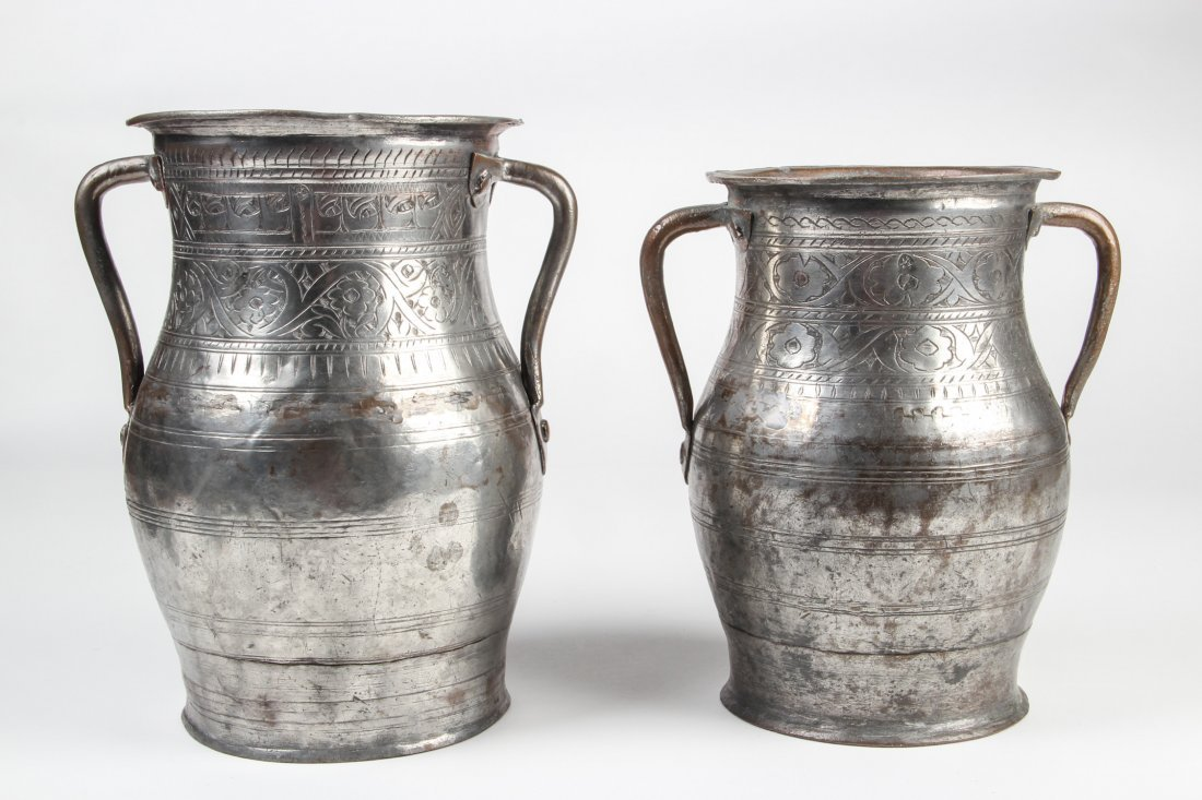 Two Antique Safavid Style Tinned Copper Jugs