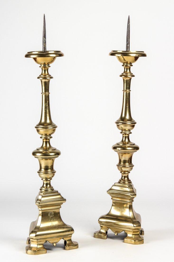 Antique Pair  Heavy Brass Prickets