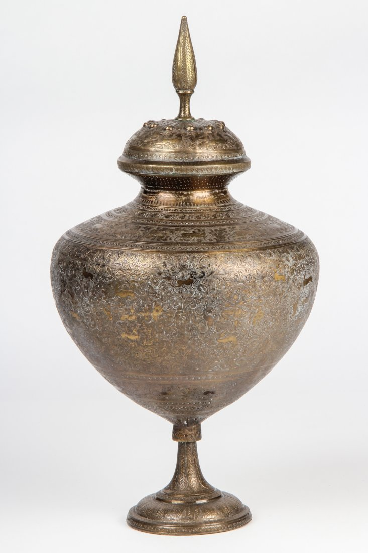 Antique Safavid Style Tinned Copper Lidded Urn