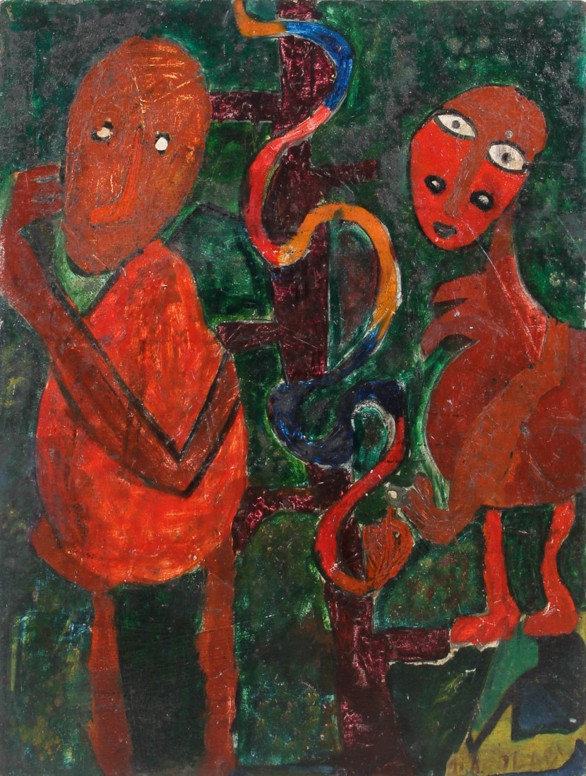 Naive Folk Art Painting of Adam and Eve