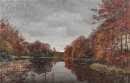 """Thorvald Niss, Oil Painting """"Frederiksborg"""", 1879"""