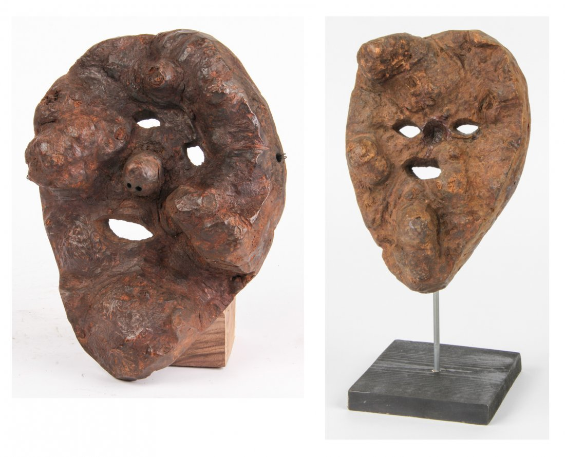 Pair of Nepal Root Wood Masks
