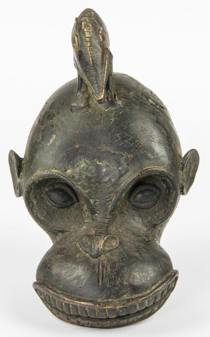 Zoomorphic Cameroon Bronze Helmet