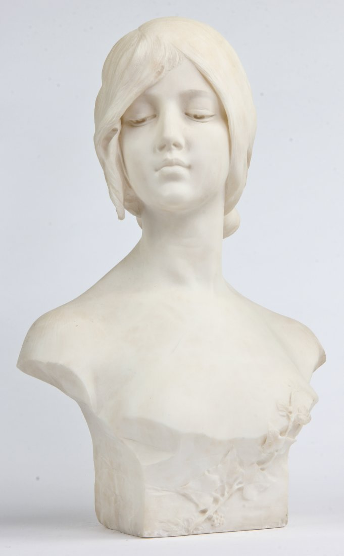 Emilio Fiaschi Marble Bust of a Young Lady