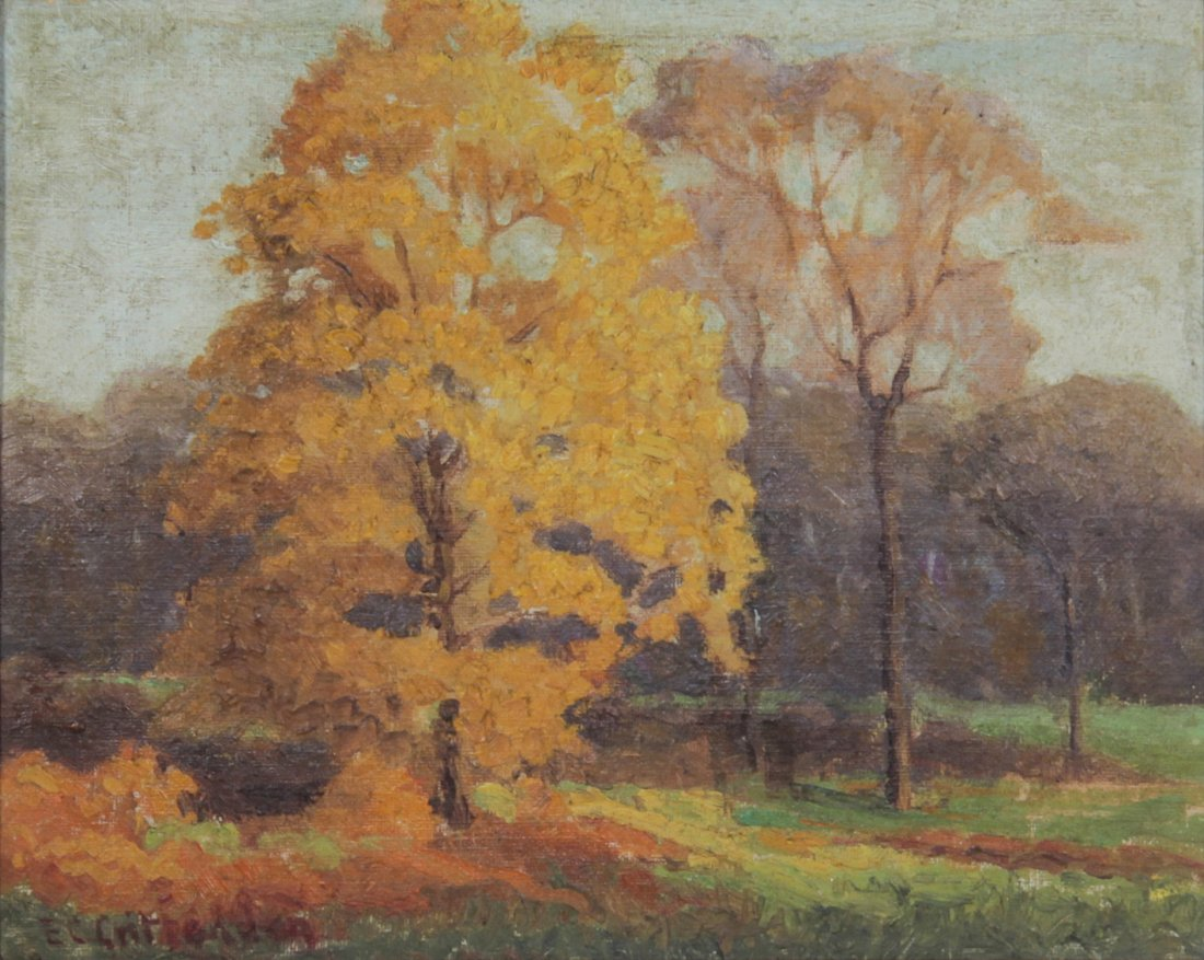 E.C. Crittenden (American) Oil Painting. Yellow Maple.