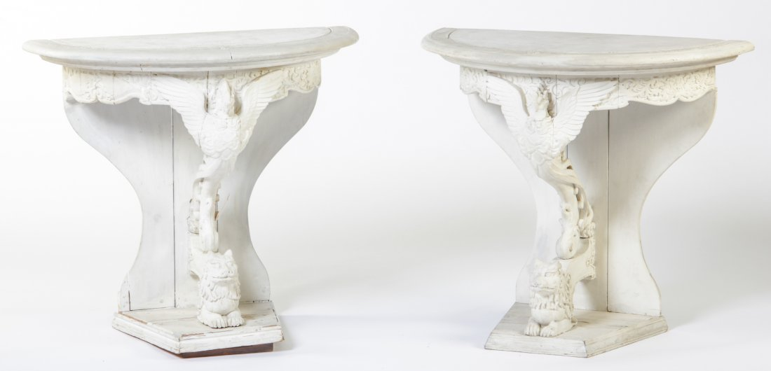 Two Federal Style Demilune Eagle and Lion Consoles