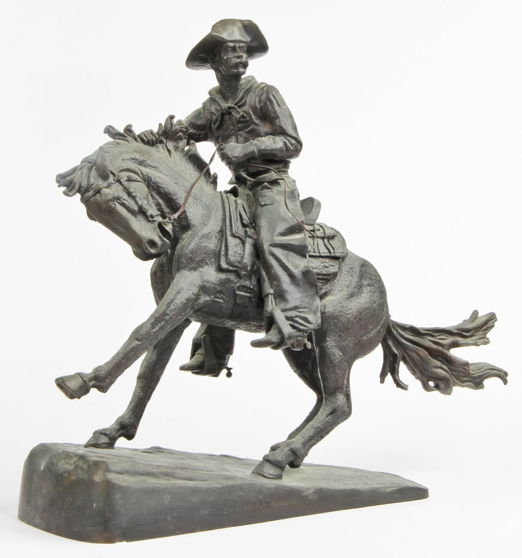 """After Remington Bronze """"Cowboy"""" Sculpture"""