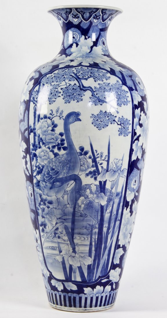 Palace Size Chinese Blue and White Floor Vase
