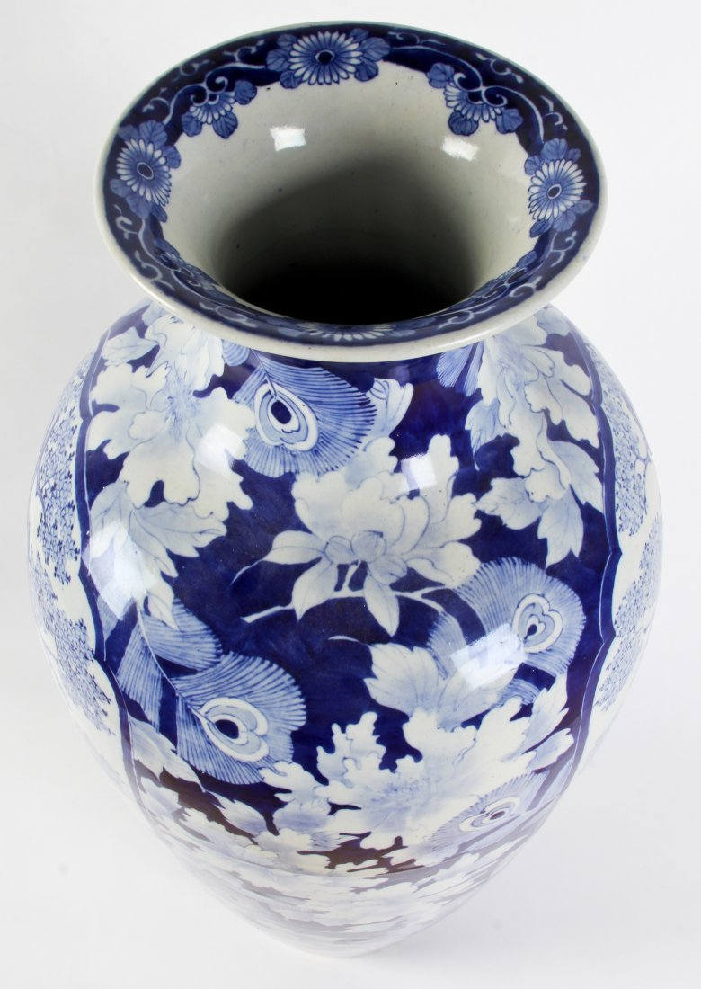 Palace Size Chinese Blue and White Floor Vase - 3