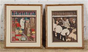 Two Early 20th C. Framed Fortune Magazine Covers