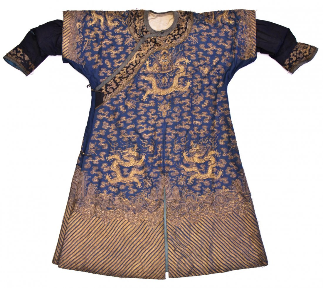 Chinese Blue Dragon Robe Gold Thread