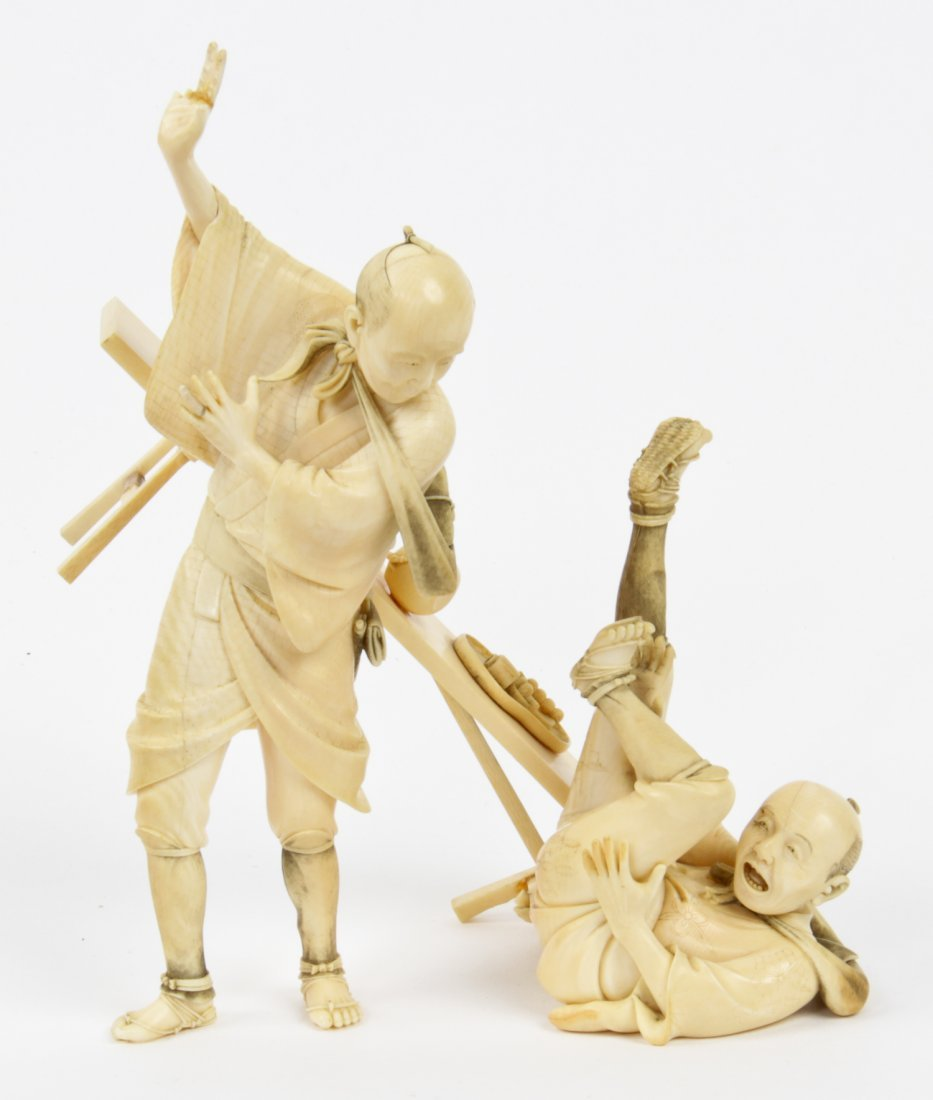 Antique Ivory Figurative Group, Japan