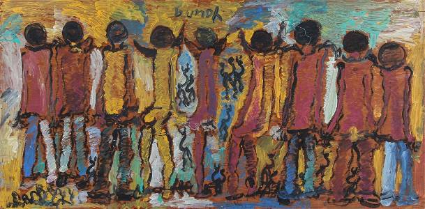 Purvis Young (USA, 1943-2010), Untitled (Dudes in