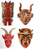 Vintage Devil Masks (Mexico), Four Pieces