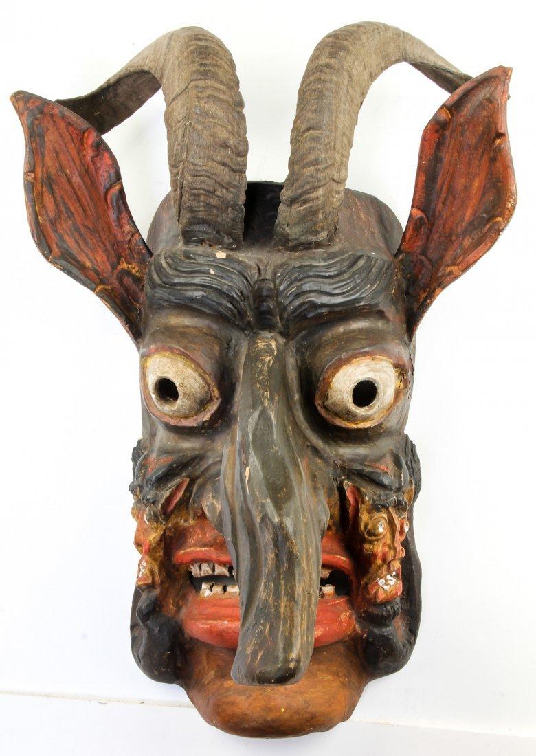 Early 20th C Krampus Mask Austria