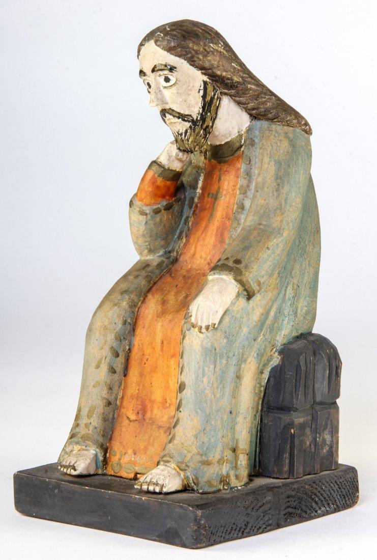 """Polish Folk Art wood carving - """"Thinking Jesus"""""""
