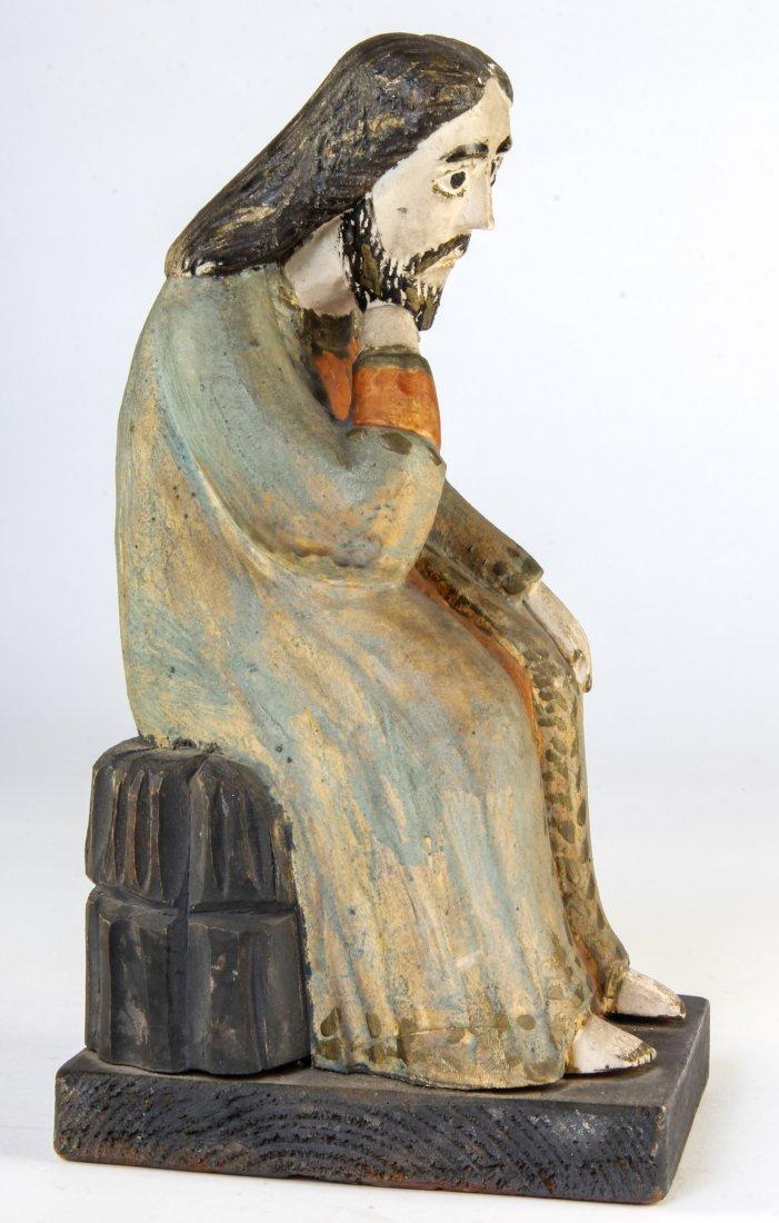 """Polish Folk Art wood carving - """"Thinking Jesus"""" - 2"""