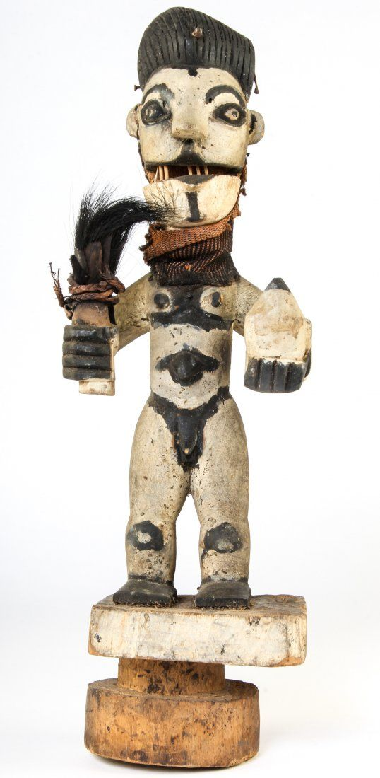 African Painted Carved Wood Sculpture, Ibo Tribe