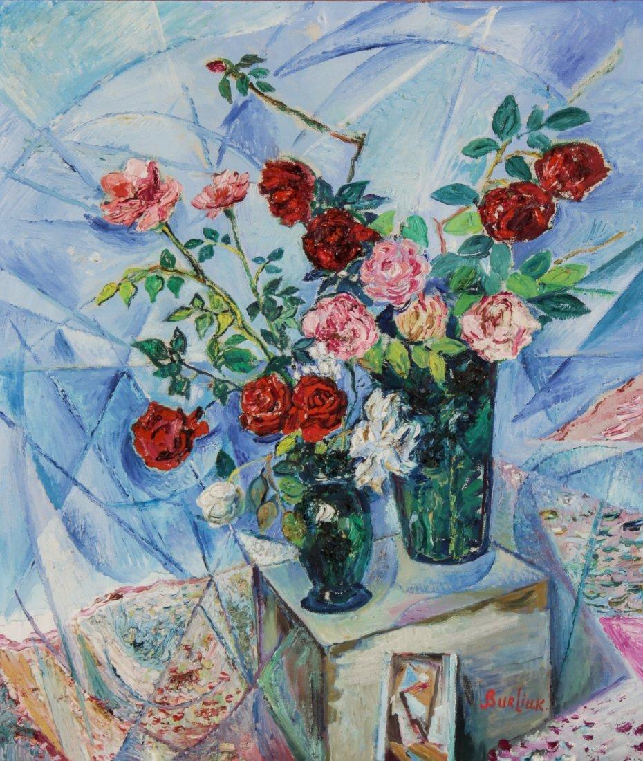 David Burliuk Oil Painting, Roses
