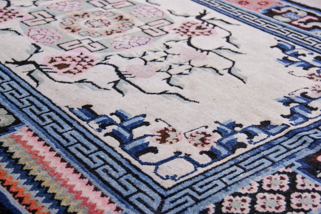 """Chinese or Mongolian Rug: 4'3"""" x 6'4"""" - 3"""