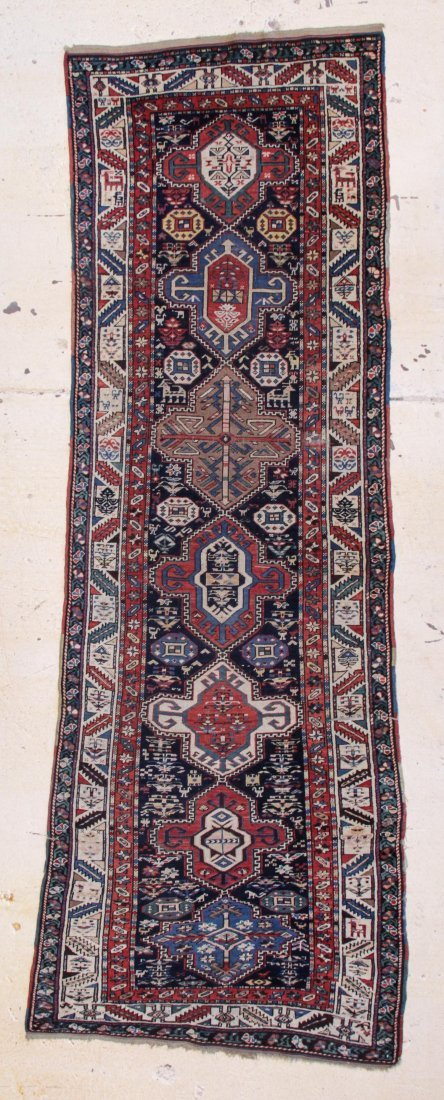 "South Caucasian Long Rug: 4'2"" x 11'1"""