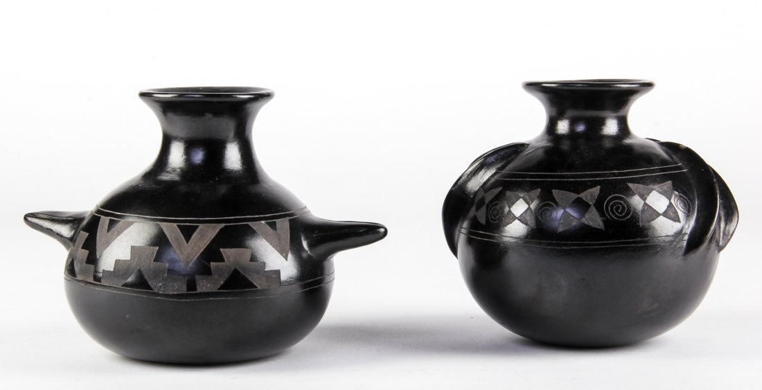 Two Mexican Folk Art Black Pottery, Mateos