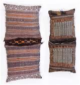 Two Afghan Kilim and Sumak Saddle Bag Pillows