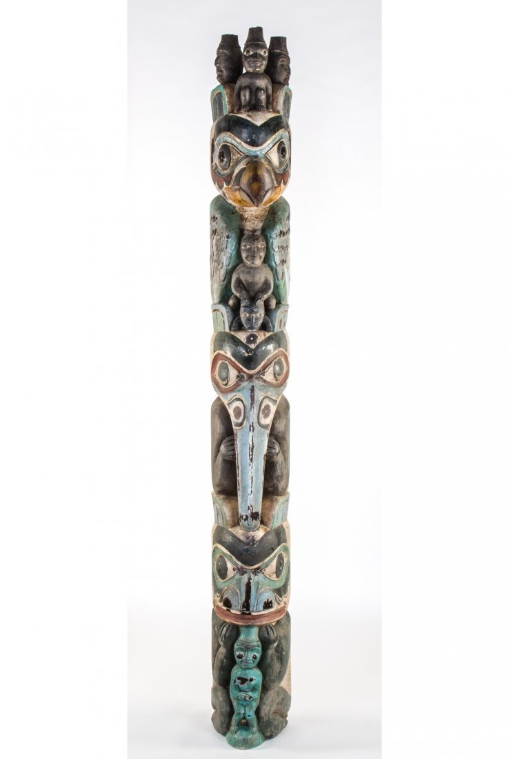 Finely Carved Northwest Coast Totem