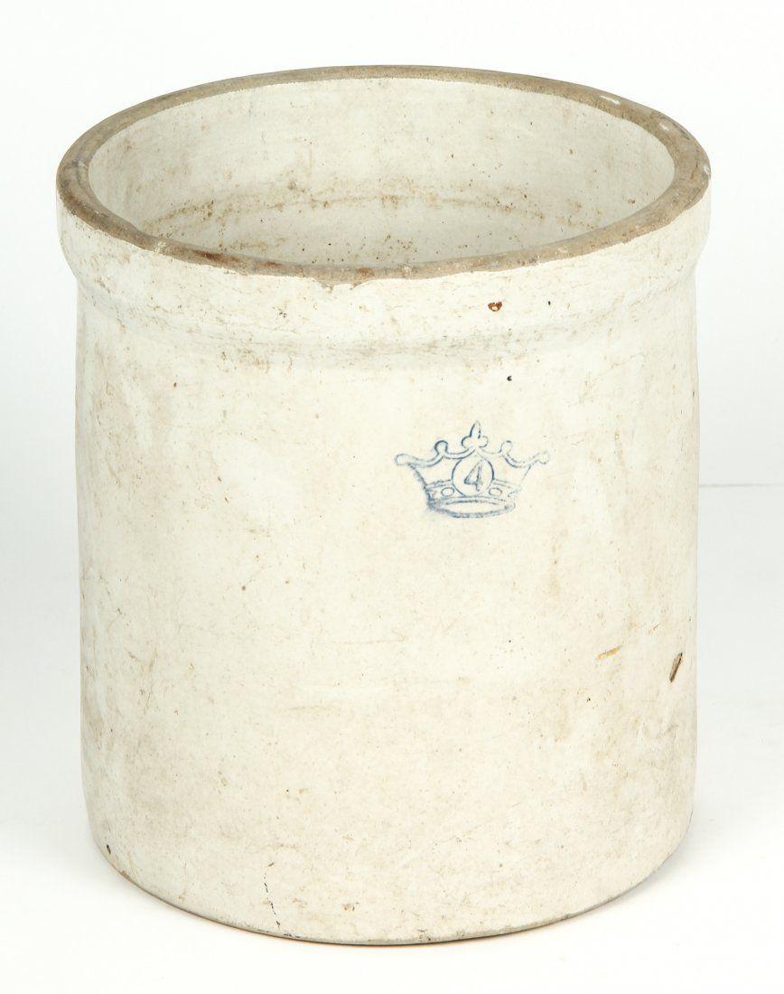 Vintage 4 Gallon Ransbottom Glazed Stoneware Crock