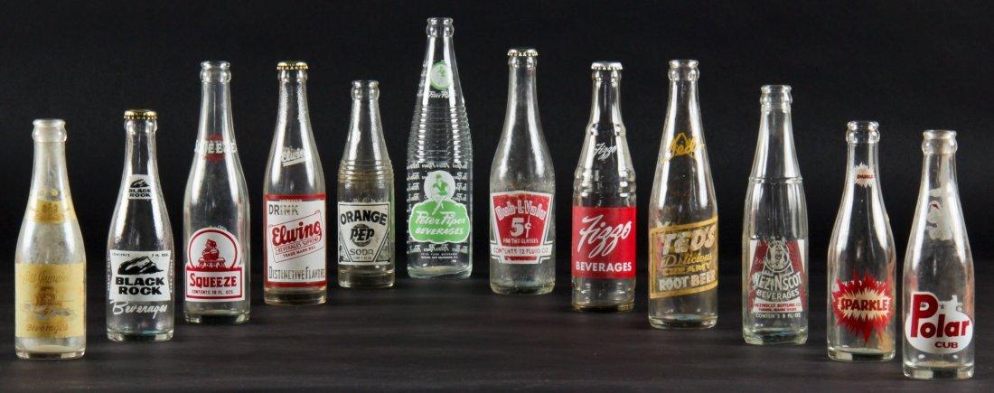 12 Vintage Glass Bottles, various sizes