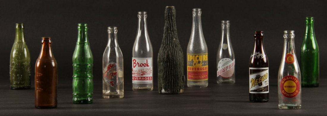 11 Vintage Glass Bottles, various sizes