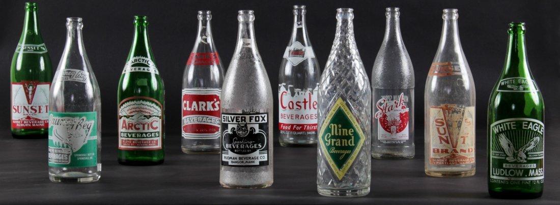 10 Vintage Glass Bottles, various sizes