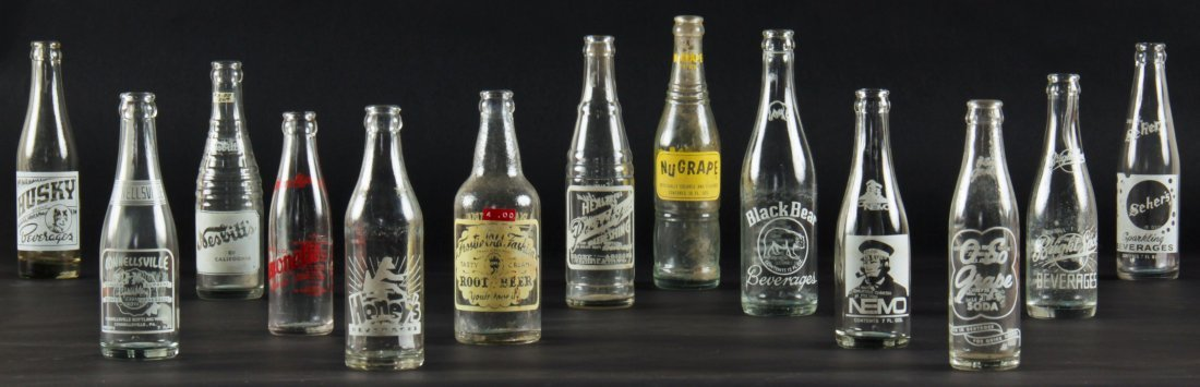 13 Rare Vintage Glass Bottles, various sizes