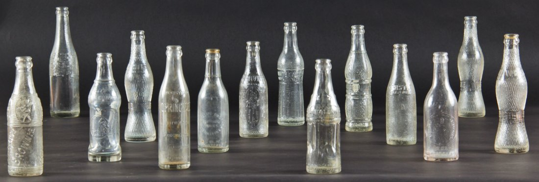 14 Rare Vintage Glass Bottles, various sizes