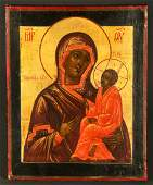 Russian Icon Mother of God Tikvinski Signed