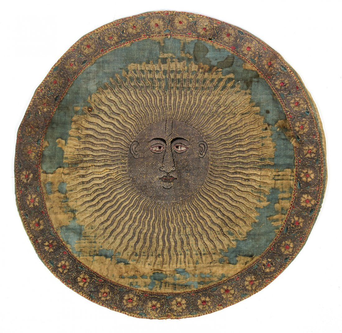 18th C. Persian or Indian Silk and Metal Thread Roundel
