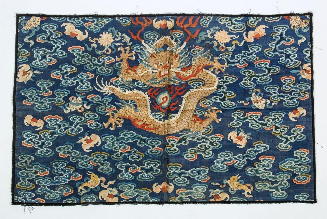 Antique Chinese Silk Dragon Panel