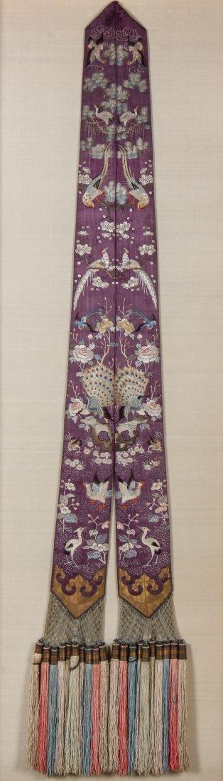 19th C. Chinese Silk Embroidered Sash