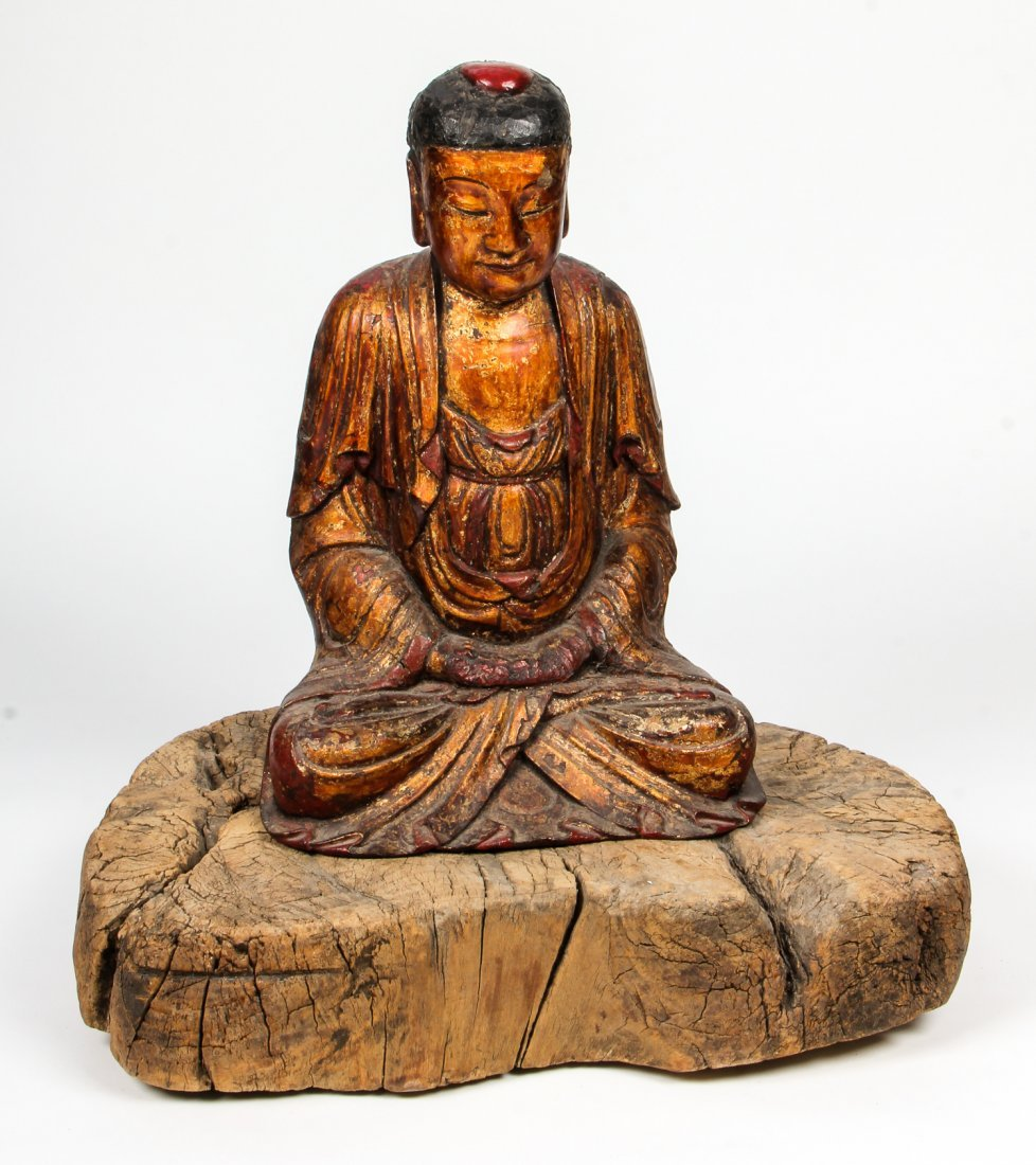 Antique Chinese Carved Wood and Lacquer Buddha