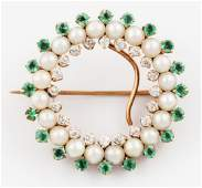14 K Gold Emerald Pearl and Diamond Circle Pin