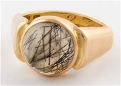 Antique 23 K. Gold and Rutilated Quartz Ring