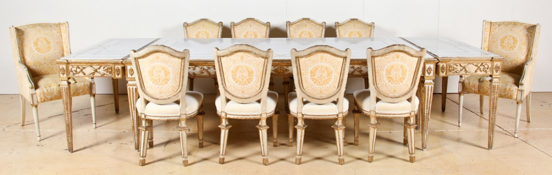 Fine Louis XV Style Marble Top Dining Suite