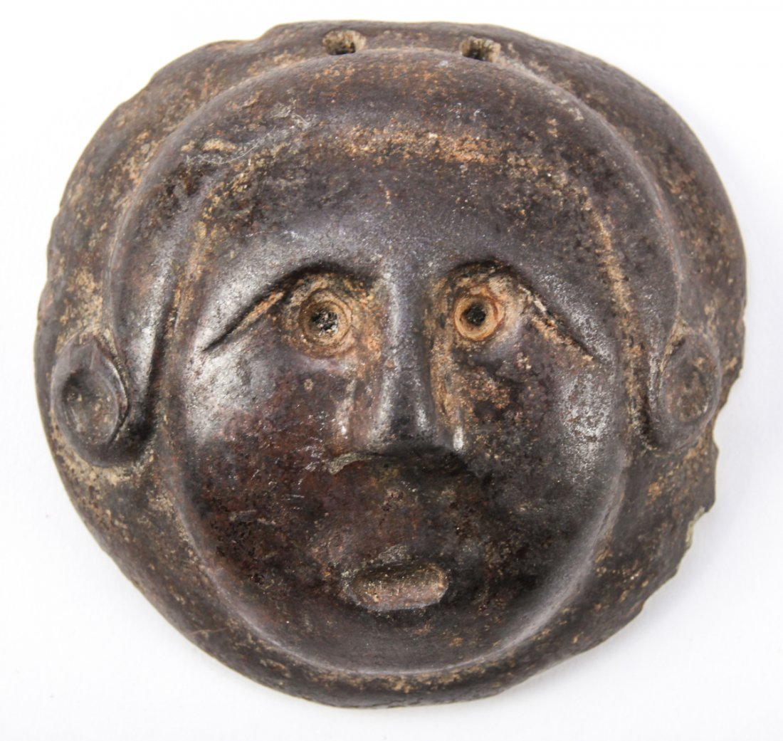 Ancient Cast Iron or Bronze Medallion of a Human Face