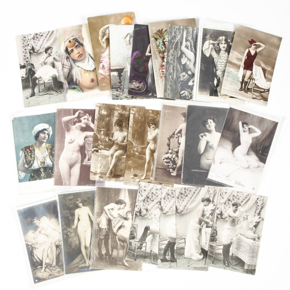 23 pc Vintage Risque Nude Postcard Lot