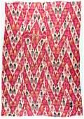 "Antique Central Asian Silk Ikat: 73"" x 51"""