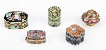 Group of 5  Cloisonne Pill Boxes